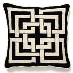 Exert style and sophistication with the petite Shanghai Links needlepoint pillow by Trina Turk, featuring a geometric pattern in black and cream. Black And White Pillows, White Throw Pillows, Throw Pillow Sets, Accent Pillows, Black White, Color Black, Fluffy Pillows, White Cushions, Toss Pillows