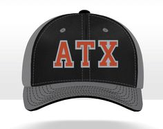 Newest line of hats from Crown Twenty! Flexfit, moisture-wicking, black performance front panels with gray spandex mesh around the back. A nod to the ATX, this hat is awesome! Austin, Texas, Longhorns, Hook Em