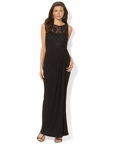 Lauren Ralph Lauren Sleeveless Illusion Lace Gown