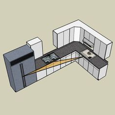 All the measurements and details you need to design an efficient L-shaped style kitchen, complete with the kitchen work triangle (fridge, stove, sink).