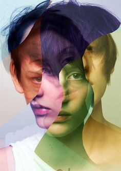each layer/cutout is a different tone, depends on the blend modes?: Self composite portrait// I like how the artist has used different colours for each section, maybe something i should consider Photography Projects, Creative Photography, Portrait Photography, Photography Collage, Artistic Photography, Photomontage, Photoshop, Poster Xxl, Foto Portrait
