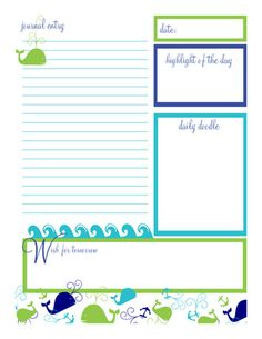 Free Anchors-a-whale themed journal page