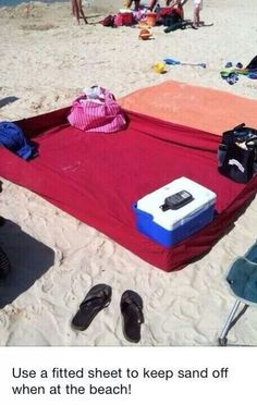 I love this. Just put a towel beside it to wipe/brush off sand and no messy sand on your sheet.