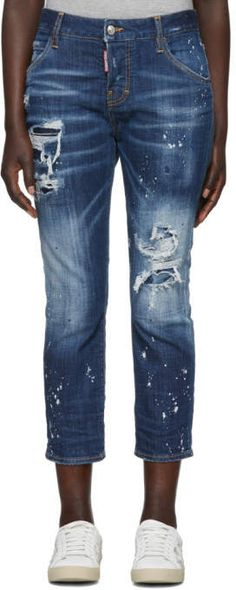 Dsquared2 Blue Cool Girl Cropped Jeans Cropped Jeans 39ab6cd12d33