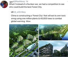 """What if instead of a Nuclear war, we had a competition to see who could build the best Forest City."""