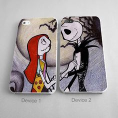 Jack And Sally Set Of Two Phone Cover http://artbetinas.com/collections/couples-phone-case
