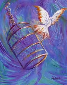 Prophetic art painting of bird singing free from the golden cage. Holy Spirit Dove with gold tipped wings. Beautiful swirled background in blues, teal and purple. Please also visit www.JustForYouPropheticArt.com for more colorful prophetic art you might like to pin or purchase. Thanks for looking! blessings! #propheticart