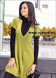 Желто-зеленое платье-реглан из мягкой пряжи. Спицы