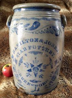 fabulous old decorated stoneware crock