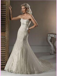 Mermaid Strapless Beading Lace Wedding Dress