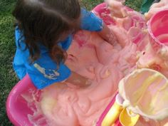 "Soapy Slime for outdoor water tables...when the water gets ""boring,"" time to spice things up :) what a great idea!!!!"