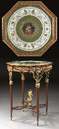 A FINE LOUIS XVI STYLE ORMOLU, MAHOGANY AND GOUACHE GUERIDON  BY ALFRED BEURDELEY, PARIS, LAST QUARTER 19TH CENTURY, S