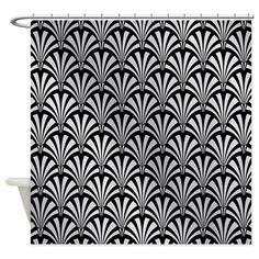 Elegant Black and Silver Art Deco Shower Curtain on CafePress.com