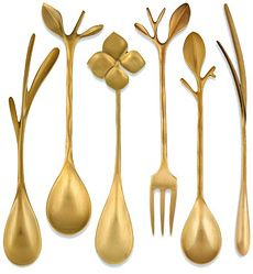 Blue Leaves Gold Cutlery