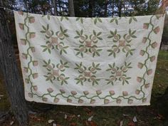 CHARMING Vintage Hand Sewn QUILT~PINEAPPLE~PINK & GREEN~84 x 86