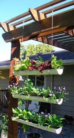 DIY hanging gutter garden • tutorial: Owner Builder Network