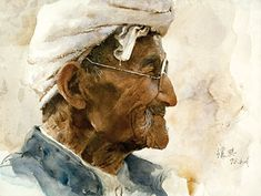Guan Weixing / Old Farmer from Shanbei (watercolor on paper, 11×15)