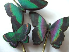 Black green purple wooden butterflies hair slides by NewellsJewels, £5.00