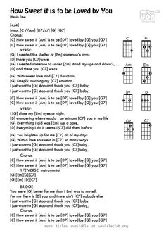 Ukulele chords - How Sweet It Is (To Be Loved by You) by Holland Dozier Holland Cool Ukulele, Easy Guitar Songs, Guitar Chords For Songs, Uke Songs, Music Chords, Music Guitar, Playing Guitar, Ukulele Tabs, Guitar Lessons