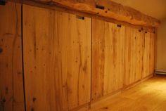 Built in cabinet. Reclaimed oak wagon floorboards.