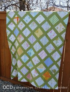 ocd: obsessive crafting disorder: Vintage sheet quilt top