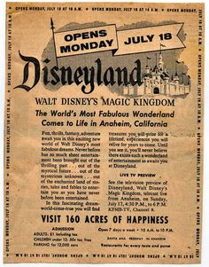 Disneyland grand opening poster-- It used to only cost one dollar!!