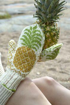 Pineapple Mittens / Ananastumput pattern by Lumi Karmitsa Mittens, Ravelry, Pineapple, Socks, Knitting, Creative, Pattern, Beautiful, Fingerless Mitts
