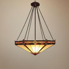 Aged Bronze Filigree Tiffany Style 3-Light Chandelier -