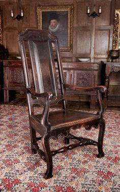 Early 18th century oak armchair, Marhamchurch antiques