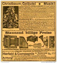 Original-Werbung/Inserat/ Anzeige 1906 - MUSIKINSTRUMENTE/PHONOGRAPHEN HERFELD & COMPAGNIE RADENFELDE - ca. 135 X 135 mm