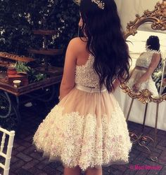 floral lace homecoming dress,two piece prom dress short,homecoming dresses two piece,short cocktail dresses PD20188964