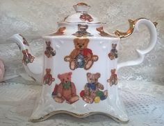 Very Rare Collectible Denise Anne China  largeTeddy Bear teapot