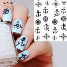 1 sheet Compass Anchors Nail Water Decals Black Transfer Stickers Nail Art