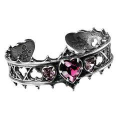 Alchemy Gothic Elizabethan Bracelet A78 ❤ liked on Polyvore featuring jewelry, bracelets, drusy jewelry, heart bangle, heart jewelry, swarovski crystal jewelry and druzy jewelry