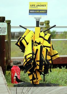 Life Jacket Greeting Card featuring the photograph Life Jacket Station by Cynthia Guinn