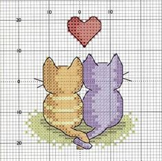 Cross-stitch Love Kitties.. no color chart available, just use the colors on pattern chart as your guide.