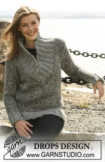"""DROPS jumper in stocking sts knitted with 4 threads of """"Alpaca"""" and Rib in """"Eskimo"""". Size S til XXXL. ~ DROPS Design"""