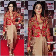Bollywood Celebrity Designer Partywear Blouse Dhoti Pants with Jacket Dress Salwar Designs, Saree Blouse Designs, Red Lehenga, Lehenga Choli, Bridal Lehenga, Indian Dresses, Indian Outfits, Saree Dress, India Fashion
