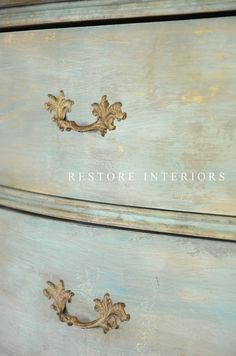 FRENCH CHEST - |she used cocoa, french linen, old white, dark wax... and a little turquoise.  Maybe my kitchen table needs to be toned down to this