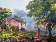 Watercolor Landscape Paintings, Gouache Painting, Nature Paintings, Landscape Art, Watercolor Art, Kinkade Paintings, Mother Painting, South American Art, Farm Pictures