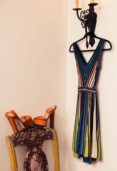 Inside Fashion Stylist Sophie Lopez's Closet: Striped Multicolor Dress by Missoni, Satin Orange Platform High Heels by Giuseppe Zanotti | coveteur.com