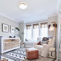 Subtle wallpaper and neutral tones. Gorgeous inspiration for gender neutral nursery. via Project Nursery - Baby Room Boy, Baby Bedroom, Girl Nursery, Nursery Decor, Bohemian Nursery, Nursery Room Ideas, Nursery Ideas Neutral, Small Baby Nursery, Ikea Baby Room