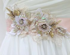 Beaded Lace Bridal Sash, Wedding Sash In Blush Pink With Crystals And Pearls…