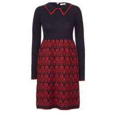 Orla Kiely: Dress with a fairisle skirt part of dress. Collar with button fastening at the back neck. Contrast tipping on collar, base and cuffs.    Length: 81cm