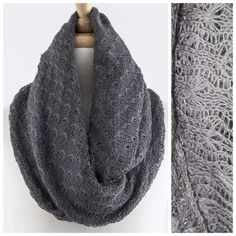 """B149 Crochet Charcoal Gray Infinity Scarf Open Weave Crochet Infinity Scarf  ‼️ PRICE FIRM UNLESS BUNDLED WITH OTHER ITEMS FROM MY CLOSET ‼️   Really soft & beautiful.  100% acrylic. Dress up any outfit day or night. Please check my closet for many more scarves and clothing items.  Length 37""""  Width 25"""" Boutique Accessories Scarves & Wraps"""