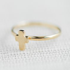 Tiny cross adjustable ring in gold ,adjustable ring,everyday