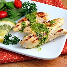 Lemon Chicken with Parsley Sauce - An easy and healthy lemon chicken cooked on the grill topped with a zingy parsley sauce