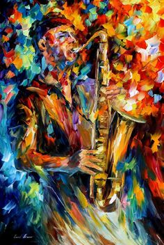 The Soul Of The Saxophone — oil painting on canvas by Leonid Afremov. Saxophone art. Saxophone painting. Saxophone home decor. Saxophone