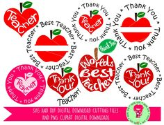 Thank You Teacher Bundle SVG / DXF Cutting File For Cricut Explore / Silhouette Cameo and PNG Clipart, Digital Download, Commercial Use Ok by DigitalGems on Etsy