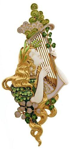 Gold, ivory, and enamel pendant, Paris, 1906